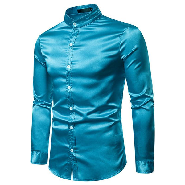 Men's Fashion Casual Casual Fashion Glossy Long Sleeve Henry Collar Shirt