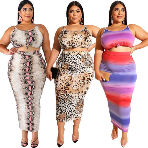 Women's Plus Size Two-piece Leopard Print Sling Tight-fitting Bag Hip Sexy Skirt Suit