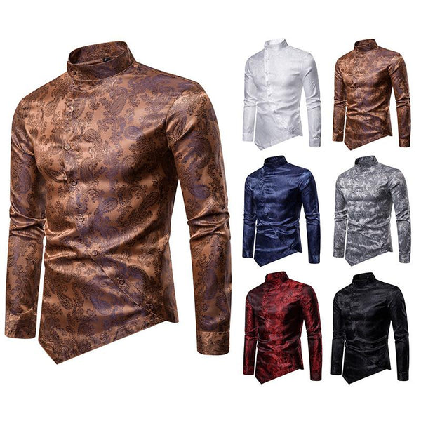 Men's Fashion Casual Diagonal Button Cashew Flower Irregular Multicolor Henry Collar High-end Long Sleeve Shirt