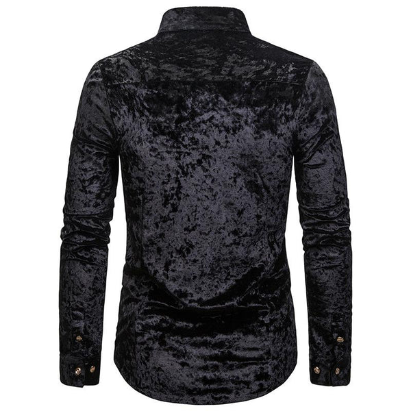 Diagonal Button Diamond Velvet Irregular Multicolor Henry Collar High-end Long Sleeve Shirt