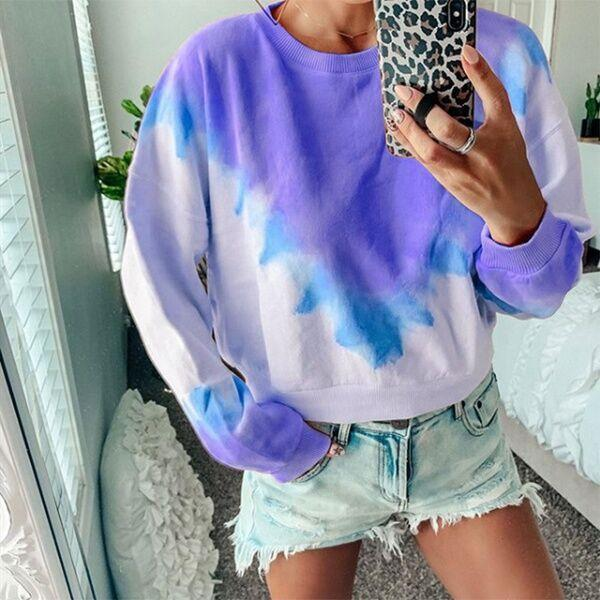 Women's Triangle Print Gradient Long Sleeve Sweatshirt