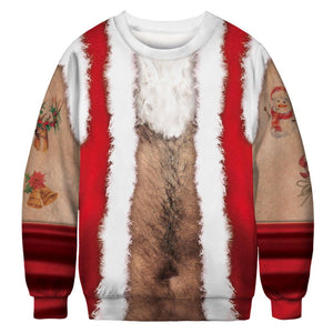 Chest Hair Xmas Print Ugly Christmas Long Sleeve Sweatshirt