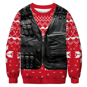 Fake Vest Print Ugly Christmas Long Sleeve Sweatshirt