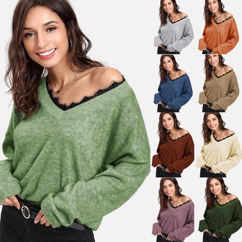 Women Long Sleeve Lace V Neck Fleece Jumper Casual Tops