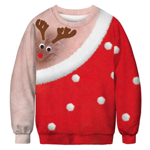 Xmas Deer Chair Hair Print Ugly Christmas Long Sleeve Sweatshirt