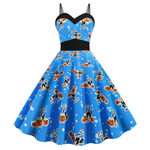 Halloween Pumpkin Skull Print Strap Dress