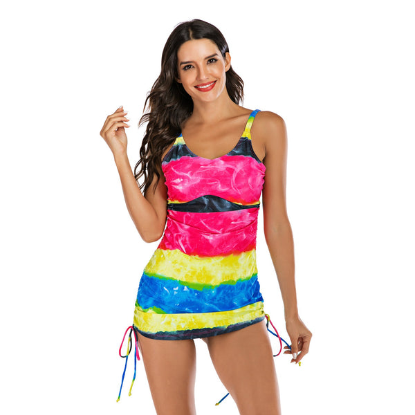 Women Rainbow Printed Sexy Two Piece Bikini Swimwear Long Sleeve Fashion Surfing Suit Wetsuit Bathing Suit