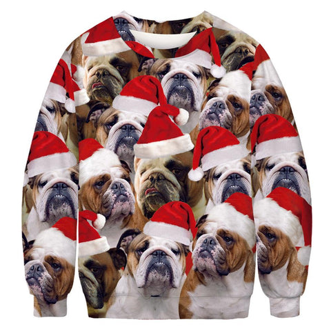 Xmas Dog Print Ugly Christmas Long Sleeve Sweatshirt
