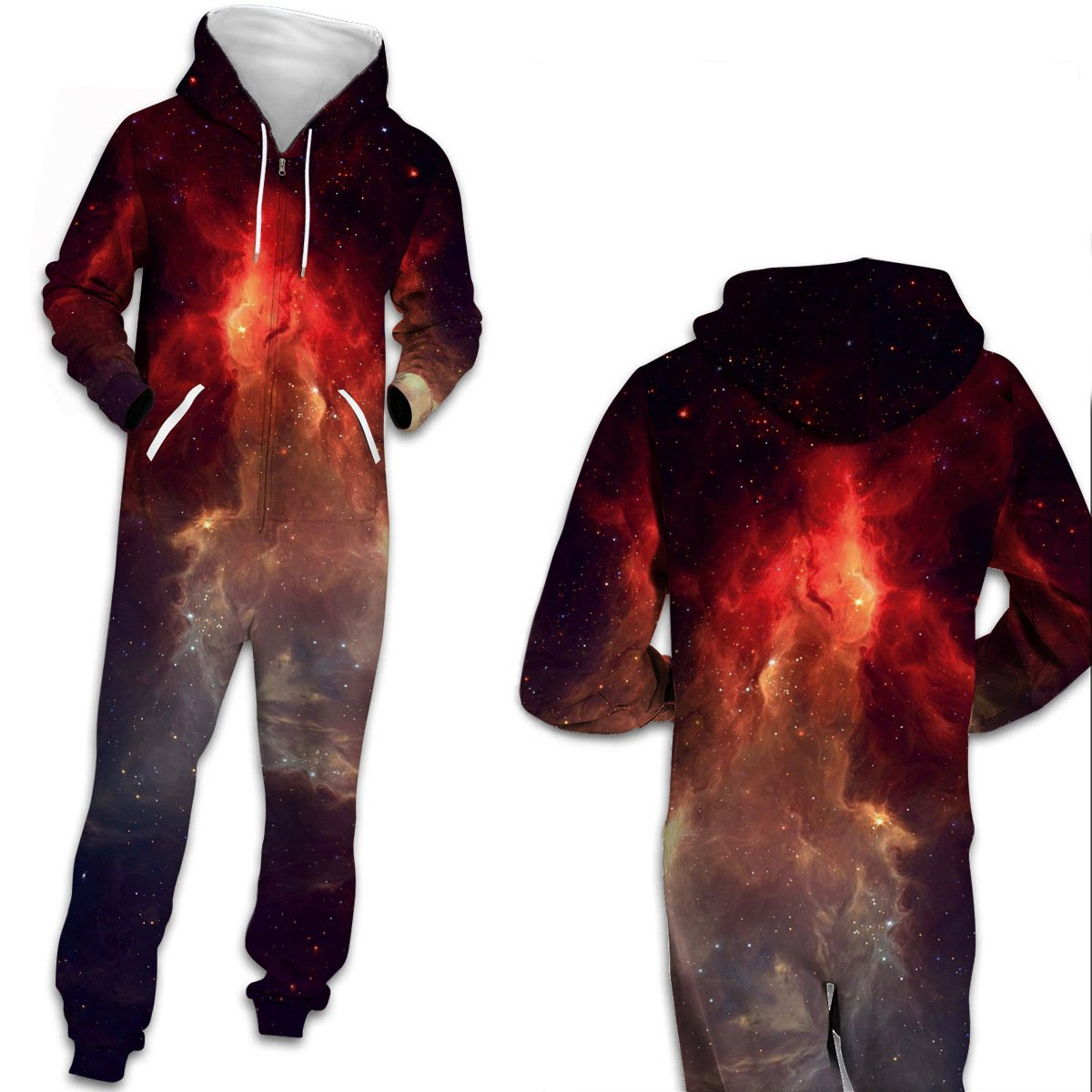 3D Funny Galaxy Universe Print One Piece jumpsuit Zip Hooded Long Sleeve Pants Pajamas Onesies