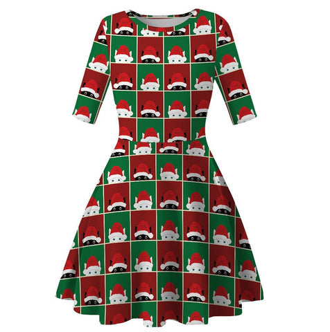 Christmas Digital Print High Waist Round Neck Dress Christmas Costumes