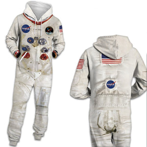 3D  Space Universe Astronaut NASA One Piece Jumpsuit Zip Hooded Long Sleeve Pants Pajamas Onesies