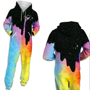 3D Funny Tie dye Print Men One Piece jumpsuit Zip Hooded Long Sleeve Pants Pajamas Onesies