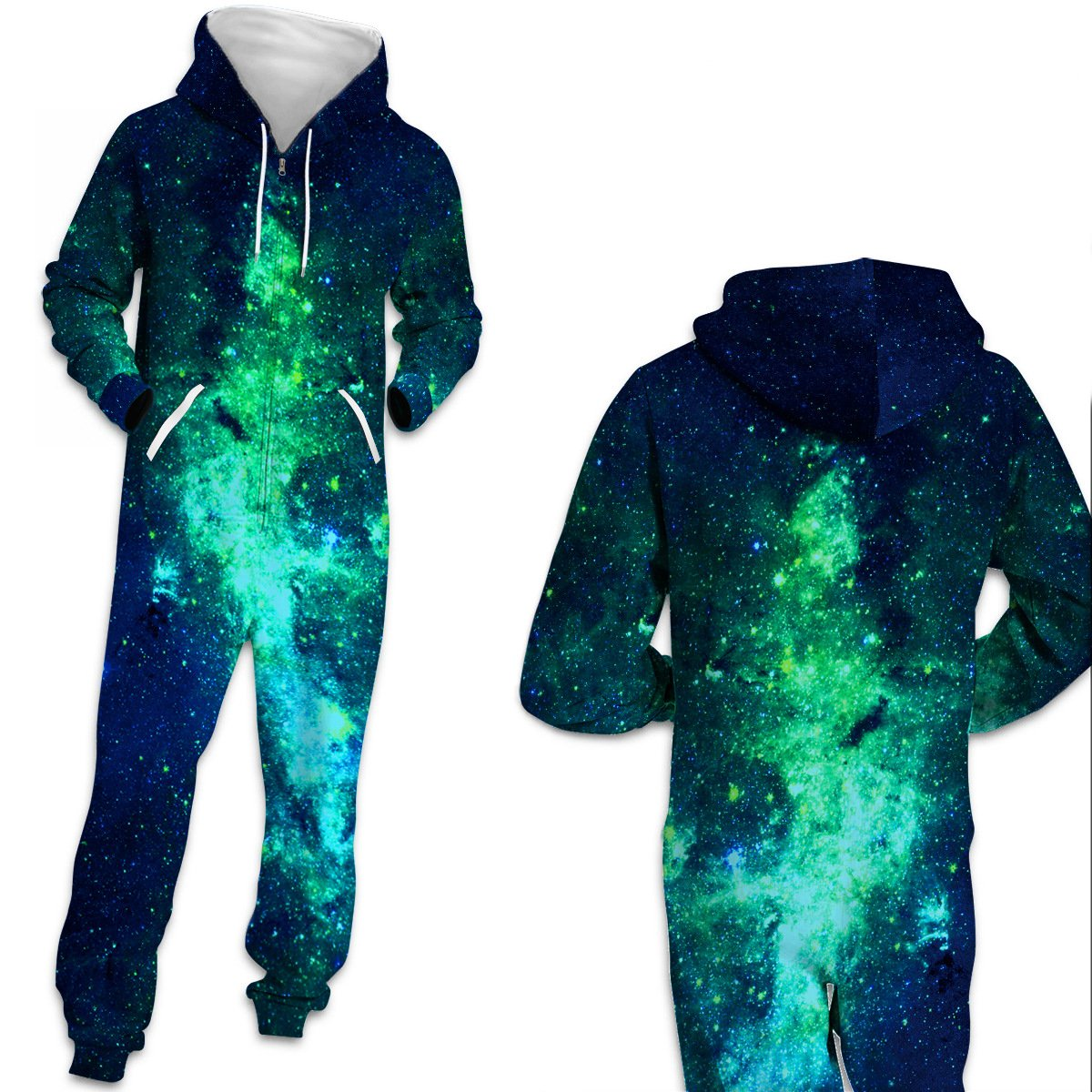 3D Funny Galaxy Universe Print One Piece jumpsuit Zip Hooded Long Sleeve Pants Pajamas Onesies For Men Women