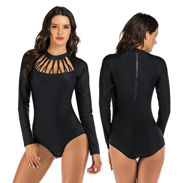 Women Solid Black Sexy One Piece Swimwear Long Sleeve Fashion Surfing Suit Wetsuit Bathing Suit
