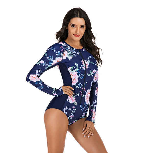 Women Floral Printed Sexy One Piece Swimwear Long Sleeve Zip Fashion Surfing Suit Wetsuit Bathing Suit