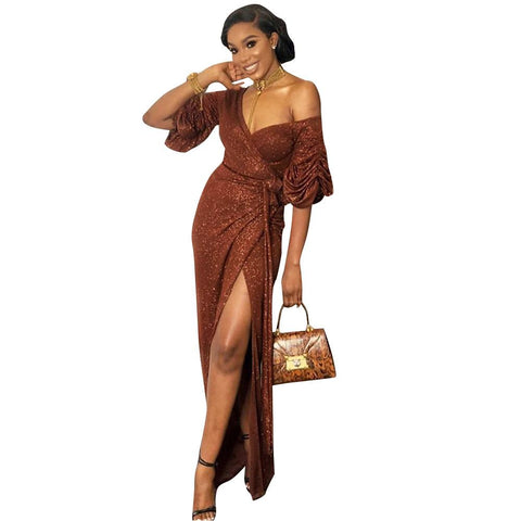 Women Elegant Retro V Neck Wrap Split Ruched Plain Midi Dress Formal Cocktail Evening Dress