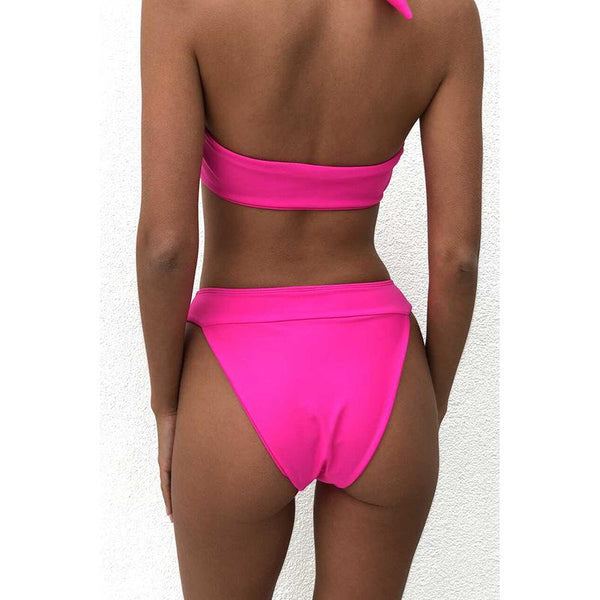 Sexy Knotted Front Diamond Halter Triangle High Leg Two Piece Bikini Set Women Swimwear Bathing Suit