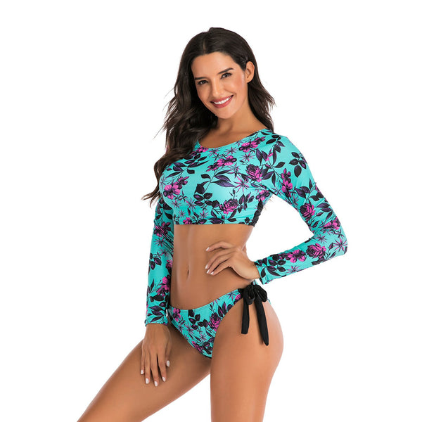 Women Floral Printed Sexy Two Piece Swimwear Bikini Crop Top and Bottom Long Sleeve Fashion Wetsuit Bathing Suit