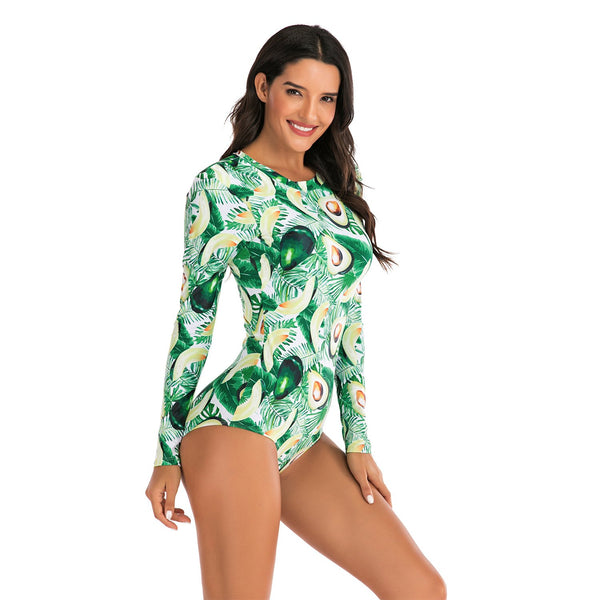 Women Avocado Printed Sexy One Piece Swimwear Long Sleeve Fashion Surfing Suit Wetsuit Bathing Suit