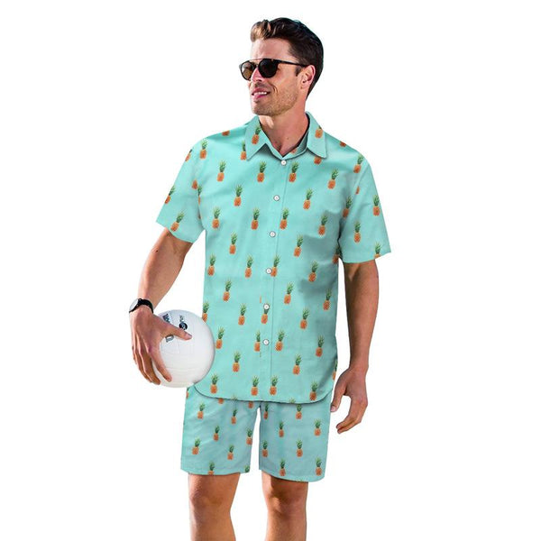 3D Pineapple Printed Men Fashion Button Short Sleeve Hawaii Shirts and Shorts Two Piece Suits Beach Outfit