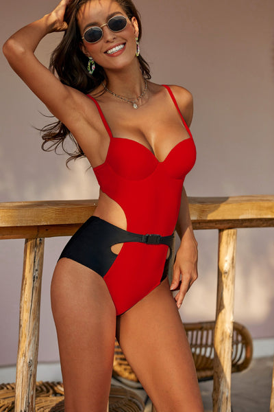 Sexy Spaghetti Strap Buckle Padded Cheeky One Piece Bikini Set Women Swimwear Bathing Suit