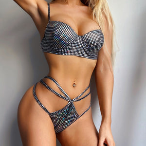 Sexy Sequin Strappy Padded Hollow Out Thong Two Piece Bikini Set Women Swimwear Bathing Suit
