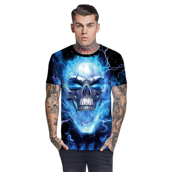 3D Blue Flame Skull Printed Funny Men T-shirt Loose Casual Novelty Short Sleeve Tees Top