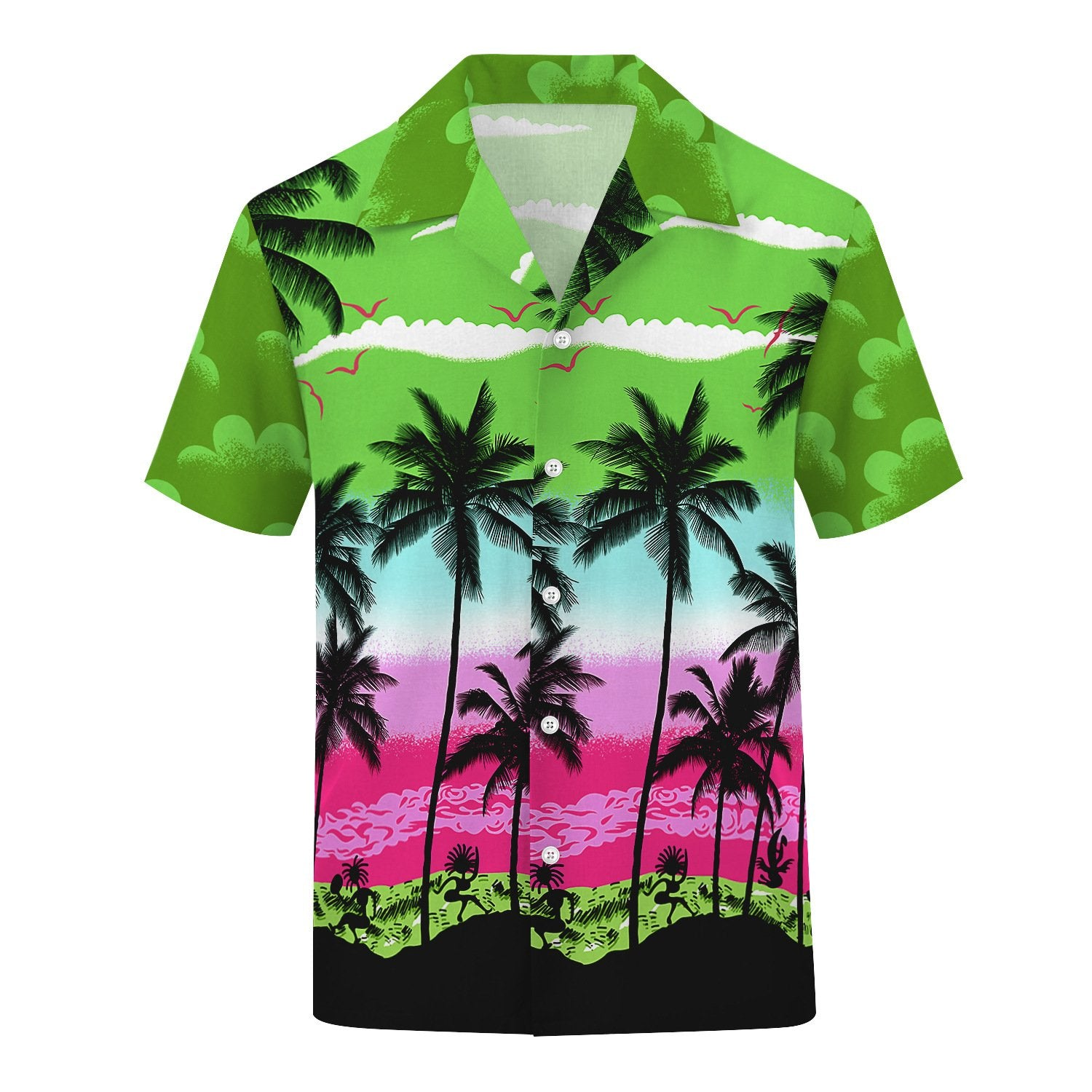 3D Tree Printed Fashion Men Casual Loose Button Down Short Sleeve Beach Hawaiian Shirt