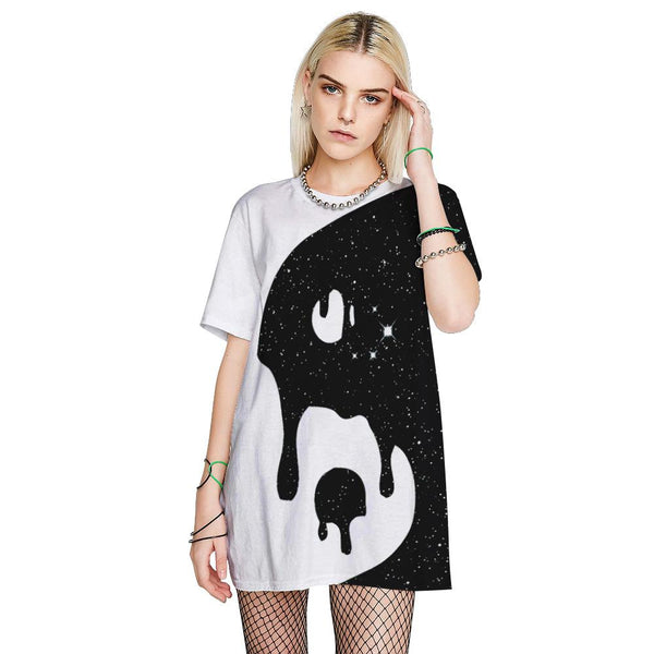 3D Gossip Yin Yang Printed Funny Men T-shirt Loose Casual Novelty Short Sleeve Tees Top
