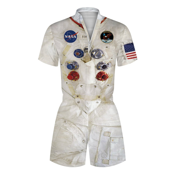 3D Astronaut Space Suit NASA Printed Men Romper Fashion Funny Zip Short Sleeve Overall Onesie with Pocket