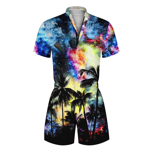 3D Galaxy Tree Printed Men Beach Romper Fashion One piece Zip Short Sleeve Overall Onesie Pants With Pocket