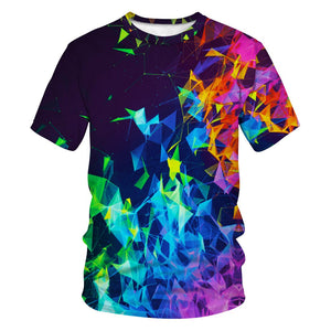 3D Geometric Smoke Printed Funny Men T-shirt Loose Casual Novelty Short Sleeve Tees Top