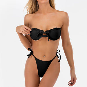 Sexy Bandeau High Leg Side Tie Knot Thong Two Piece Bikini Set Women Swimwear Bathing Suit