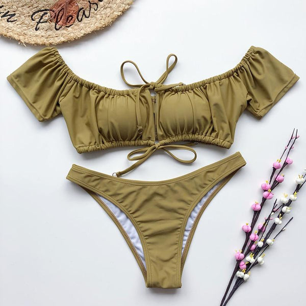 Sexy Bandeau Ruched High Leg Thong Two Piece Bikini Set Women Swimwear Bathing Suit