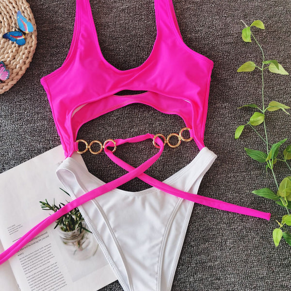 Sexy Cutout Patchwork Chain Belt One Piece Bikini Set Monokini Women Swimwear Bathing Suit