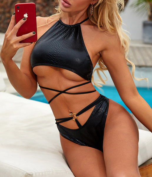 Sexy String Strappy High Neck Triangle Cheeky Two Piece Bikini Set Monokini Women Swimwear Bathing Suit