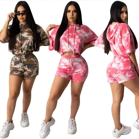 Women's Fashion Two-piece Tie-dye Printed Casual Hoodie+ Short Suit
