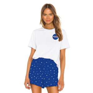NASA Printed Women Loose Two Piece Set T-shirts and Shorts Sleepwear Nightwear Nightgowns Pajamas