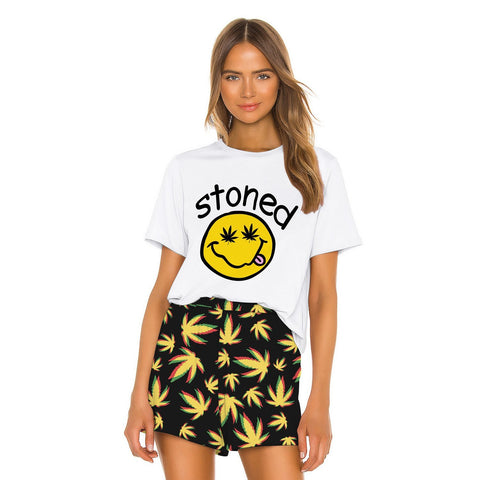 Emoji Printed Women Loose Two Piece Set T-shirts and Shorts Sleepwear Nightwear Nightgowns Pajamas