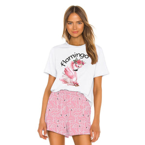 Flamingo Printed Women Loose Two Piece Set T-shirts and Shorts Sleepwear Nightwear Nightgowns Pajamas