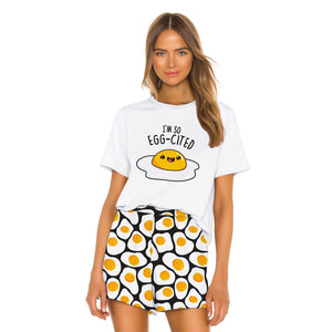 Egg Printed Women Loose Two Piece Set T-shirts and Shorts Sleepwear Nightwear Nightgowns Pajamas
