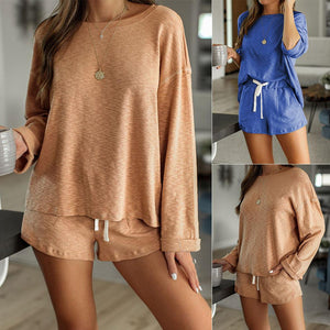 Women Casual 2-Piece Home Wear Solid Color Round Neck Long Sleeve Four Corner Pajama Set