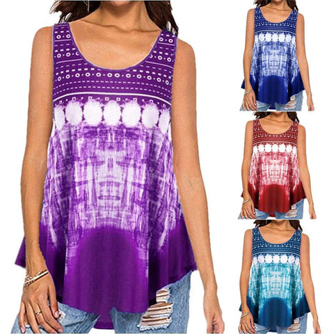 Women Printed Fashion Casual Summer Sleeveless T-shirt Tops