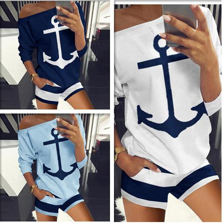 Anchor Printed Women T-shirts + Shorts Two Piece Set Outfit