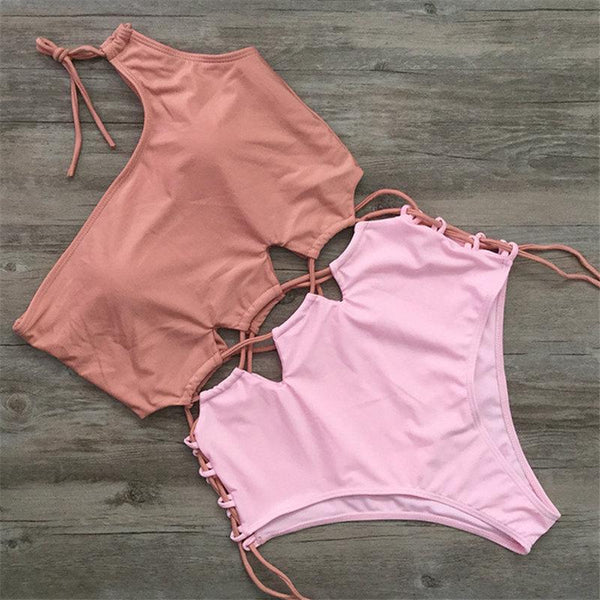 Solid Color Stitching Straps One-piece Swimsuit