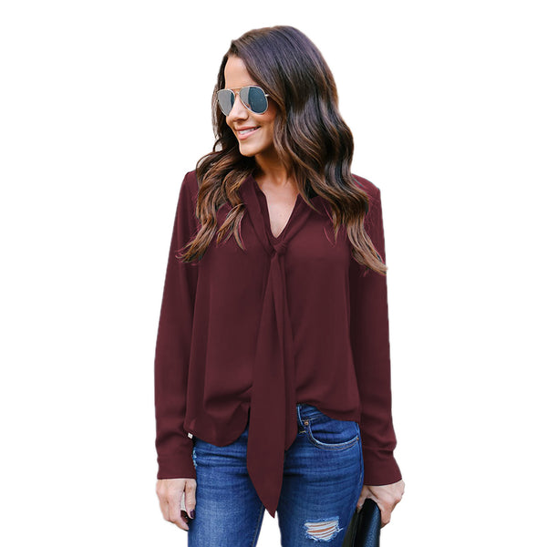 Long Sleeved V-neck Casual Tie Chiffon Shirt