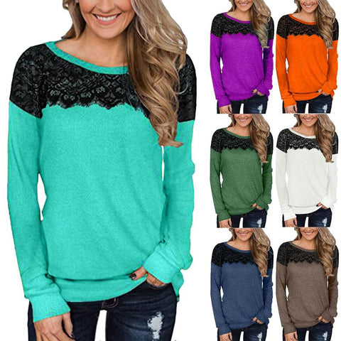 Women Lace Patchwork Plain Long Sleeve Casual T-shirt Tops