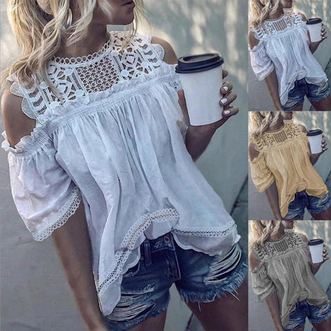 Short Sleeve Solid Color  Hollow Out Off Shoulder Lace Ruffle Blouse Tops