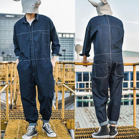 Men Retro Casual Denim Jacket Long Sleeve Loose One Piece Jeans Jumpsuit Overalls Coveralls Workwear