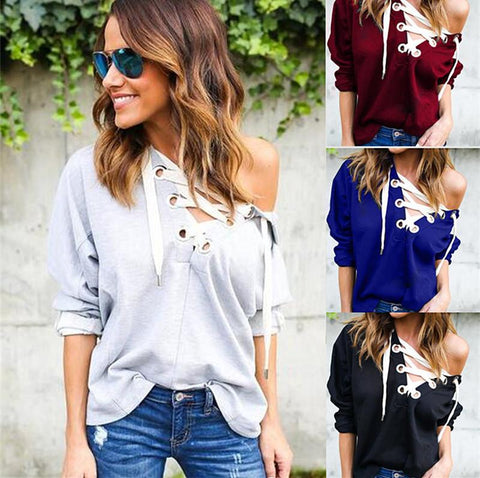 Black Lace Up Hooded Sweatshirt